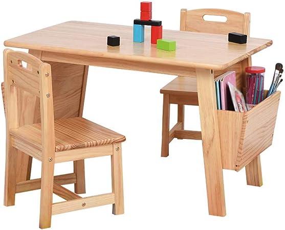 Juego de mesa y silla de madera maciza para niños, mesa de estudio para niños, escritura para bebés y pintura para comer Juego de aprendizaje, con caja de almacenamiento: Amazon.es: Hogar