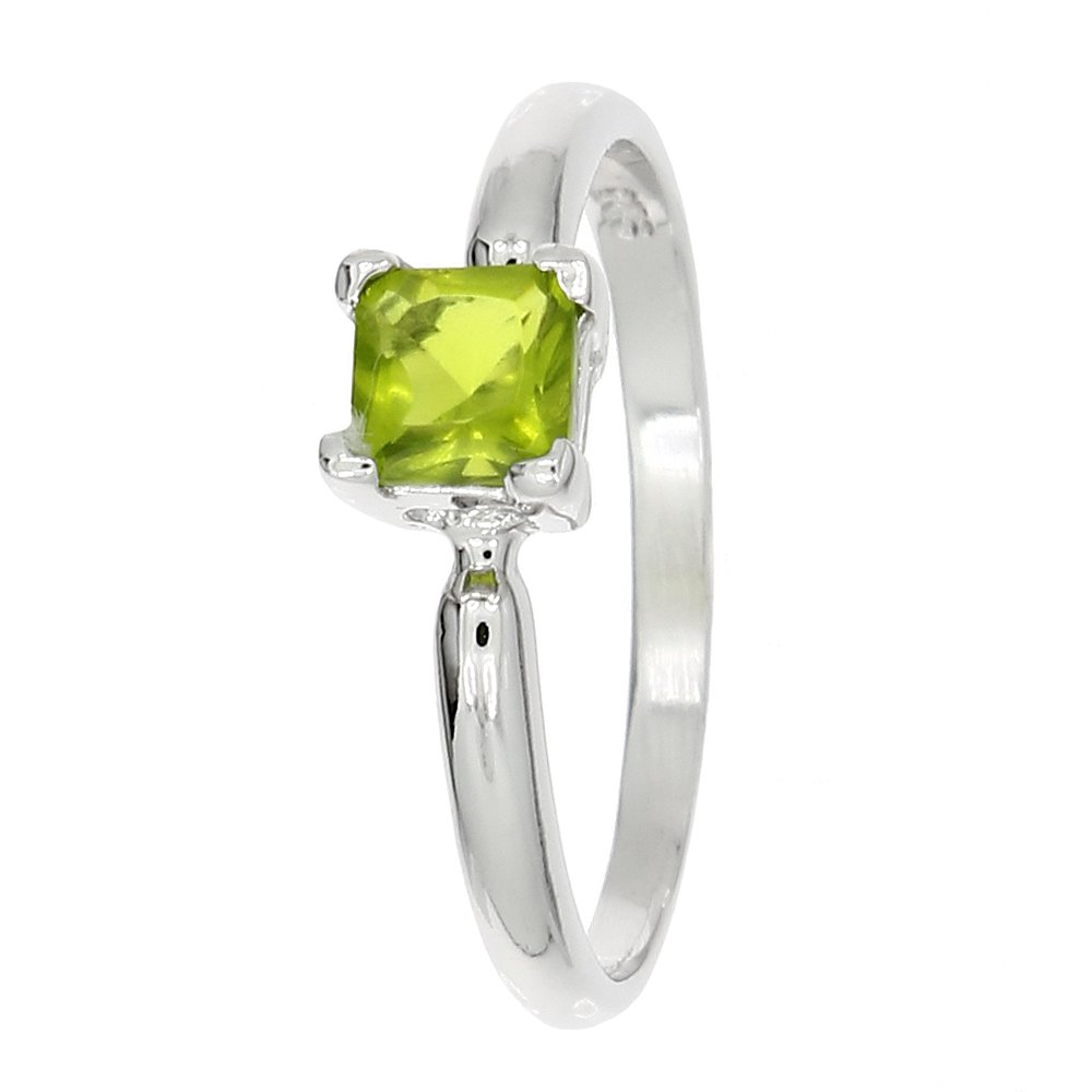 Lgu Sterling Silver Rhodium Plated Polished Glass Stone Princess Cut Child Ring Birth Month August (6)