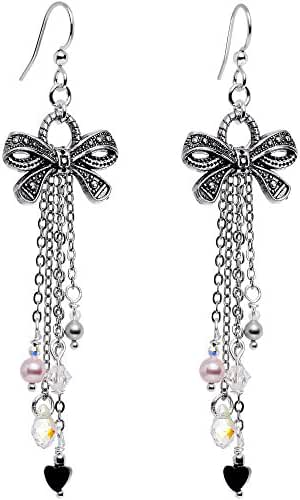 Body Candy Handcrafted Silver Plated Chain Ribbon Drop Earrings Created with Swarovski Crystals