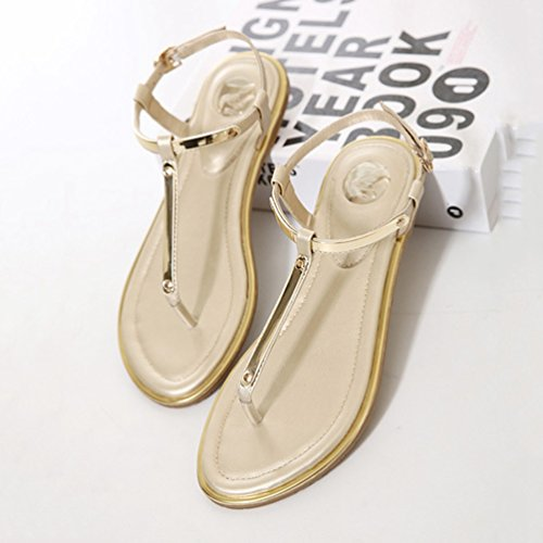 Ouvertes Bride Or Sandale Mode Cheville Chaussures Clip pour Plates Femme Toe JITIAN Métallique Sandales OqEv0