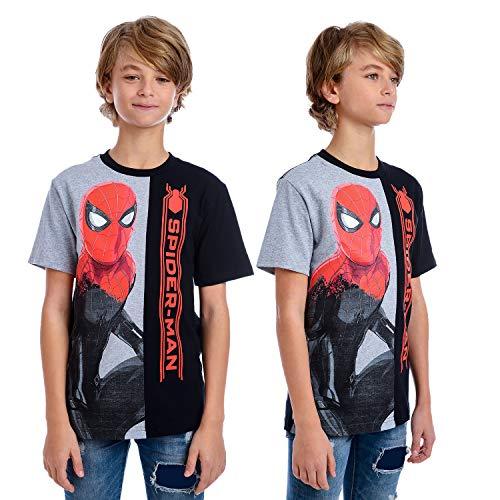 Marvel Boys' Little Split Tee Spiderman T-Shirt, black/gray, 7