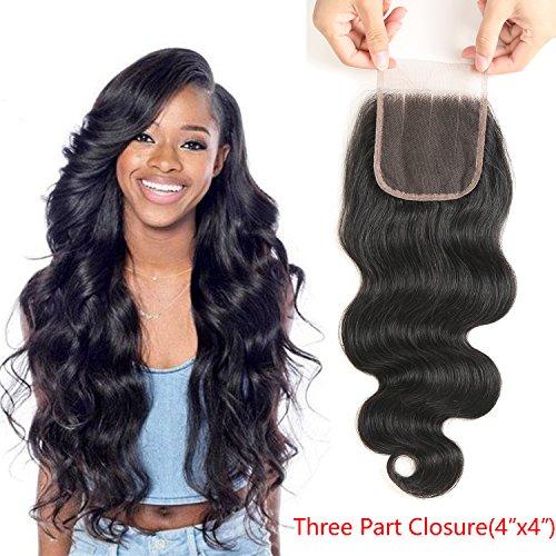 Bestsojoy 10A Brazilian Body Wave 4x4 Three Part Lace Closure Natural Black Brazilian Virgin Human Hair Closure Body Wave (20 closure)
