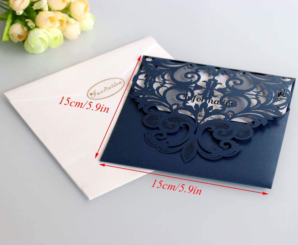 Laser Cut Wedding Invitation Card Custom Personalized Printing and Blank Page Envelope 5.9×5.9In 100Pcs by JXS-Wedding (Image #2)