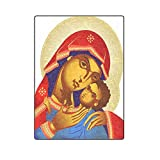 Christian Religious Church Gifts Virgin Mary With Baby Jesus Christ Warmer Winter Fleece Throw Plush Blanket 58 x 80 inches (Large)