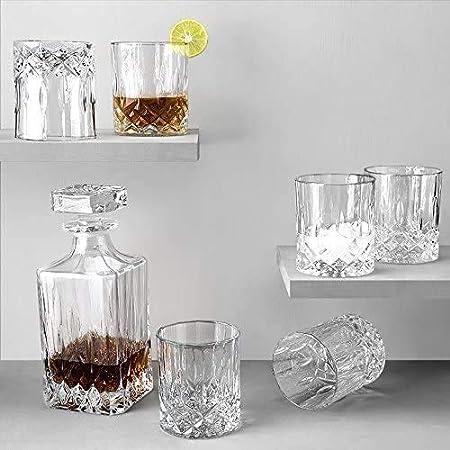 GAOXIAOMEI Lote De 7 Piezas con Garrafa De Whisky De Cristal De 75 Cl Y 6 Vasos De Whisky Estilo Viejo De 30 Cl