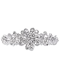 Ever Faith Wedding Daisy Flower Brooch Clear Austrian Crystal Silver-Tone N02826-1