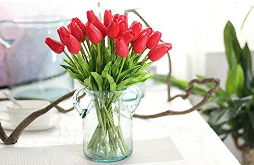 Freedi 10Pcs Artificial Tulips Silk Flowers Wedding Bridal Bouquet Party Home Outdoor Decor Bulk