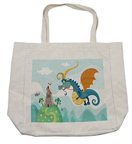 Lunarable Fantasy Shopping Bag, Dragon Flying toward the Castle to Save Princess Surreal Dream World Monsters Kids, Eco-Friendly Reusable Bag for Groceries Beach Travel School & More, (Paper Bag Princess Dragon Costume)