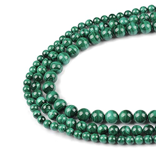 FANGQUN 60pcs 6mm Malachite Round Loose Beads for Jewelry Making Natural Stone DIY Bracelets Necklace Earring Handmade Polished Gemstone Craft Gift 1 Strand 15