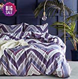 Purple Duvet Covers and Curtains Elephant Soft Queen Duvet Cover Set, Premium Microfiber, Purple Pattern On Comforter Cover-3pcs:1x Duvet Cover 2X Pillowcases,with Zipper Closure (Full/Queen)