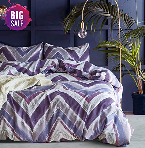 - Elephant Soft King Duvet Cover Set, Premium Microfiber, Purple Pattern On Comforter Cover-3pcs:1x Duvet Cover 2X Pillowcases,with Zipper Closure (King)