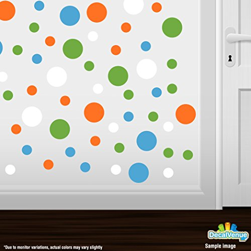 Set of 60 Circles Polka Dots Vinyl Wall Graphic Decals Stickers (Orange / Ice Blue / Lime Green / White)