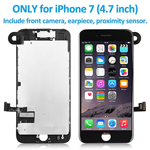 """for iPhone 7(4.7"""") Screen Replacement Black– Corepair Full Assembly Retina LCD Display Touch Digitizer with Front Camera, Ear Speaker, Repair Tools Kit and Screen Protector (iPhone 7 Black) Front Lcd Panel Bezel"""