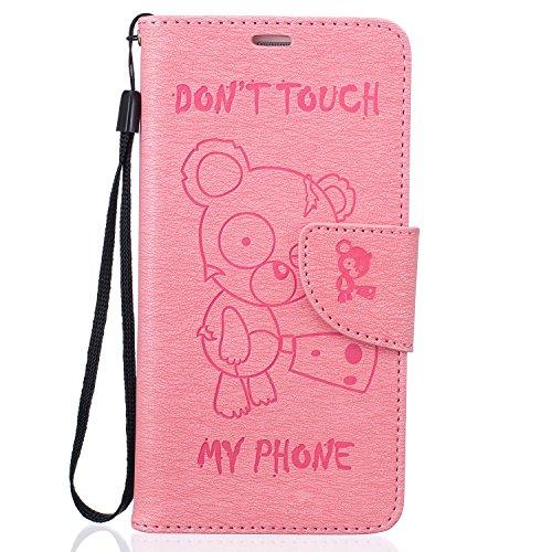 iPhone 6 Plus/6S Plus 5.5 Funda de Cuero PU (Con Gratis Pantalla Protector) CaseHome Linda OsoPatrónModa Diseñador Billetera Magnético Desmontable FolioEstilo de libroCaracterística del Soporte  Rosado