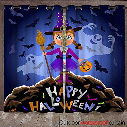 RenteriaDecor Outdoor Curtain for Patio Happy Halloween Girl in Halloween Costume and Scary Ghosts Witch with Broomstick and Pumpkin Bag Night Autumn Landscape W96 x L108]()