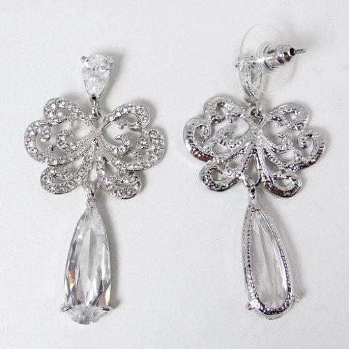 EVER FAITH® Noces Ton d'Argent Lace Fleur Goutte d'Eau Pendant Boucle d'Oreilles Cristal Autrichien Clair Zircon N01458-1