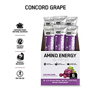 OPTIMUM NUTRITION ESSENTIAL AMINO ENERGY Individual Packs, Concord Grape, Keto Friendly BCAAs