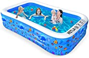 VRZTLAI Inflatable Swimming Pool, Family Lounge Pool Kiddie Pool for Kids, Adult, Infant, Toddlers, Garden, Ba