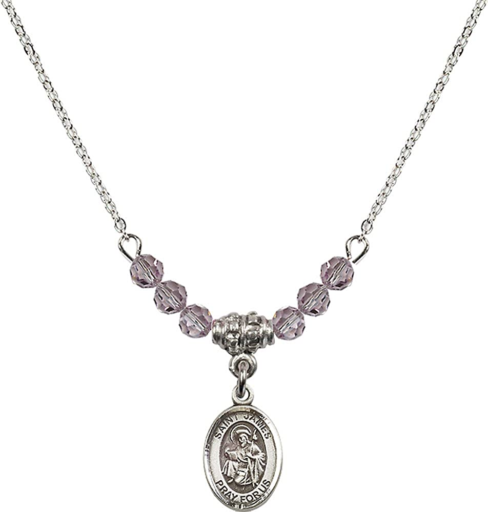 18-Inch Rhodium Plated Necklace with 4mm Light Amethyst Birthstone Beads and Sterling Silver Saint James the Greater Charm.