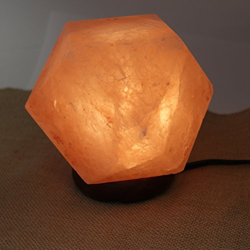 Genuine Himalayan Hand Crafted Rock Salt Lamp with UL- Approved Cord, Dimmer Switch and Bulb - Diamond by The Royal Gift Shop