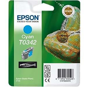 Epson T0342 - Cartucho inyección de tinta, 17 ml, 20 páginas, color cian