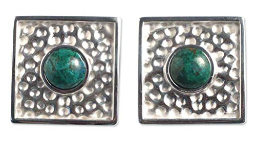 NOVICA Chrysocolla .925 Sterling Silver Button Clip-On Earrings 'Center of the Forest' by NOVICA