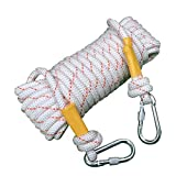 LDFN Rock Climbing Rope Outdoor Wire Core Safety Escape Nylon Rescue Rope Abrasion Resistant Household,White-80m12mm