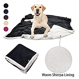 "Pawsse Dog Cat Puppy Snuggle Blanket Plush Sherpa Micro Fleece Pet Throws Cushion Mat for Small Animals Large Size 60""x49"""