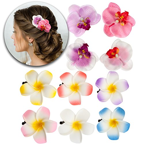 - Hairstyling Hair Styling Accessories Set Kit of 10pcs Artificial Fake False Plumerias and Orchids Flowers Decorations Decorative Pins Clips Slides