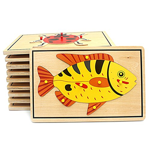 DANNI Kids Montessori Science Toys Animals Puzzle for Children Wood for Early Childhood Education Preschool Training Learning Baby Toy