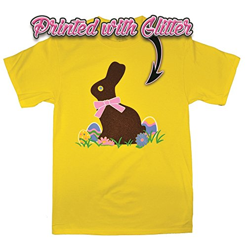 - Chocolate Glitter Easter Bunny Yellow T-Shirt - Tees2urdoor - XL