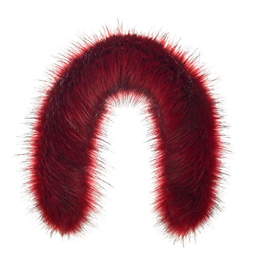 Futrzane Trim Hood Faux Fake Fur Hood Winter for Jacket Ski Collar Wrap Shawl (S, Red)