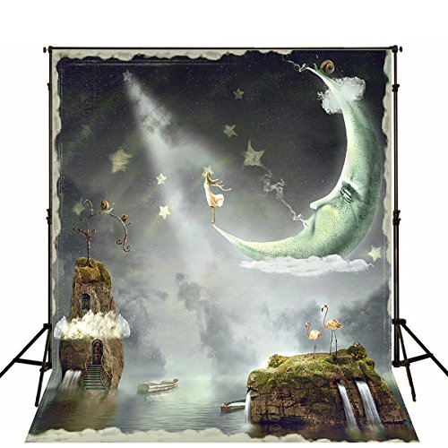 Night Scenic Halloween Backdrops Photography Moon Stone Castle Stone is Land Mystery Fairy Tale Background for Photo Studio]()