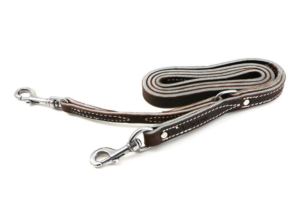 Leerburg Amish Leather Prong Collar Leash, 6' Long 3/4'' Wide, Brown