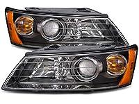 Headlights Depot Replacement for Hyundai Sonata New Black Projector Halogen Headlights Set Headlamps Pair