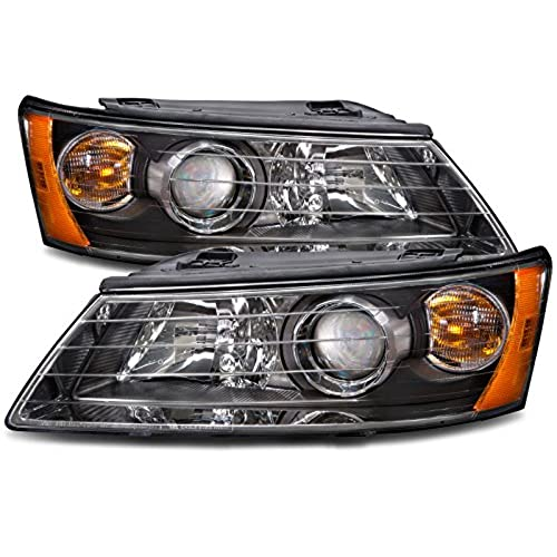 Hyundai Sonata New Black Projector Halogen Headlights Set Headlamps Pair
