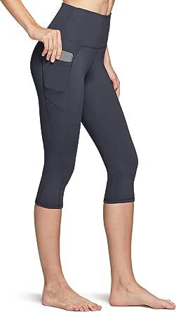 TSLA Capri Yoga Pants with Pockets, 17Inches / 21Inches Capri Workout Leggings, 4-Way Stretch Yoga Capri Leggings w Hidden/Side Pocket