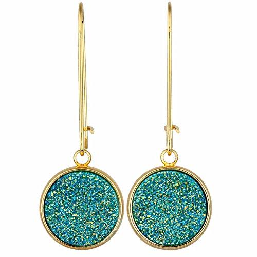 TUMBEELLUWA Titanium Coated Druzy Agate Dangle Earrings Stone Kidney Hook Drop Healing Crystal Earring Handmade Jewelry for Women,Green AB Aura ()