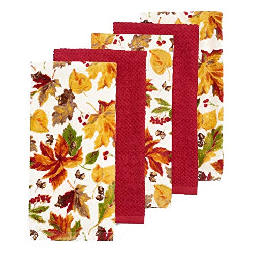 (Celebrate Fall Falling Leaves Kitchen Towel Set, 5 Pack with 3 Leaf Orchard Print Towels and 2 Solid Red Towels, 16.5 x 26 inches, Cotton Construction)