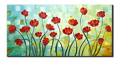 Diathou 24x48Inch Abstract Art Landscape Artworks 100% Hand Painted 3D Flower Oil Painting Living Room Bedroom Corridor Office Modern Home Decor ()