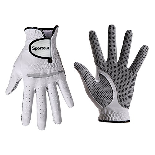 (TimeBus Men's Compression-Fit Stable-Grip Genuine Cabretta Leather Golf Glove, Super Soft, Flexible, Wear Resistant and Comfortable, White,S-XXXL, (L, Right)