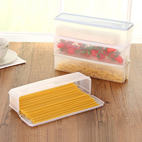 Afco Strip Noodle Storage Box Refrigerator Food Container Drawer Kitchen Food Rack size 30cm x 8.2cm x 8cm (Khaki)