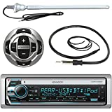 Kenwood MP3/USB/AUX Marine Boat Yacht Stereo Bluetooth Receiver CD Player Bundle Combo w/ RC35MR Wired Remote Control, Enrock Water Resistant 22 Radio Antenna, Outdoor Rubber Mast AM/FM 45 Antenna