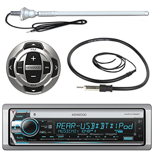 Kenwood MP3/USB/AUX Marine Boat Yacht Stereo Bluetooth Receiver CD Player Bundle Combo w/ RC35MR Wired Remote Control, Enrock Water Resistant 22
