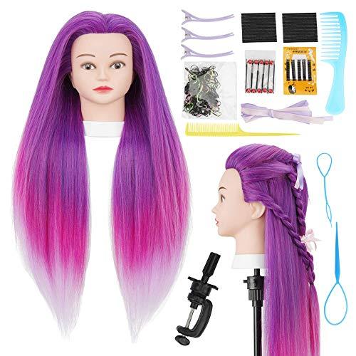 Cabeza  practica de peluqueria 75cm (purpura degrade)+acc