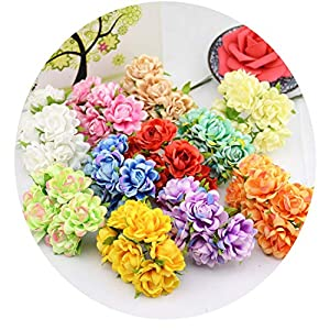 Wild-lOVE 6Pcs/Lot Silk Rose Artificial Flower Bouquet for Wedding Home Decoration Clothing Hats Accessories Rosa Flowers 33