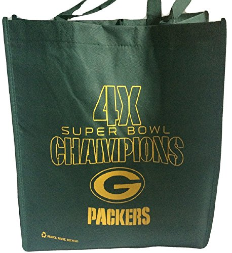 NFL Green Bay Packers 4X Super Bowl Champs Reusable Tote Bag by Forever Collectibles