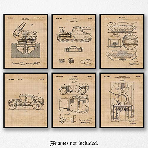 Original Military Patent Art Poster Prints- Set of 6 (Six 8x10) Unframed Photos- Great Wall Art Decor Gifts Under $20 for Home, Office, Garage, Man Cave, Student, Teacher, Family, Fan, Blogger
