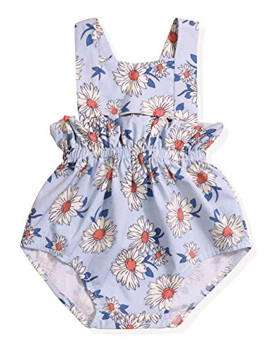 (Baby Girl 6 12 18 24 Months Clothes Baby Small Daisy Floral Strap Romper Sleeveless Bodysuit Summer Outfit 12-18 Months Blue)