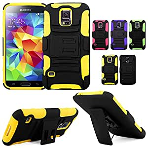 Cellularvilla Samsung Galaxy S5 S 5 SV Mini SM-G800 Yellow Black Prime Series Hard Soft Dual Layer Holster Case KickStand with Locking Belt Swivel Clip Cover Protector